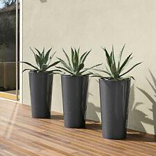 3 Stück hohe Blumentöpfe mit Einsatz in anthrazit Euro3Plast Tuit Übertopf Vasen