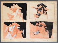 LUIGI PARZINI (1925-1998) QUADRO DIPINTO Tecnica Mista su carta con Cornice 1962
