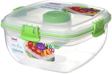 Sistema Klip It Salad To Go 1.1 Litre Container 21356,Clear with green clips