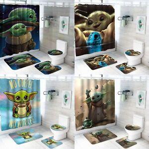 Baby Yoda Bathroom Rugs Set 4PCS Bath Mat Shower Curtain Toilet Lid Cover 12Hook
