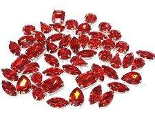 Acrylic Sew on Faceted Crystals Rhinestones Diamantes Dress Making MONTEES Mixed Shapes Red (50pcs)