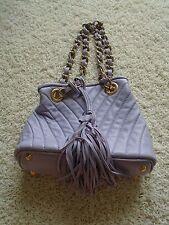 Paolo del Lungo Handbag Purse Lavender Purple Leather Gold Metal Trim Italy