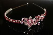 Bridal Bridesmaid Prom-Cristal Rose Côté Diadème Bandeau