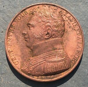 1822 LOUIS XVIII FRENCH COPPER MEMORIAL MONUMENT MEDAL - THAMES RIVER FIND