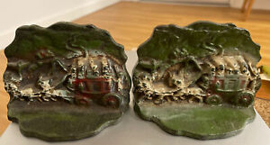 Old Antique Cast Iron Painted Bookends 114 Stage Coach and Horses