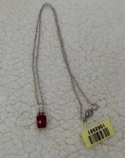 "Blazing Red Quartz w/Rhodolite Garnet Pendant in Platinum/.925 w/20"" Steel Chain"