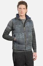 NWT MISSONI Men's Navy Down Patchwork Print Reversible Sz L Gilet Vest $1610