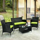 Outdoor 4pcs Patio Furniture Garden Conversation Wicker Sofa Set Green Cushions