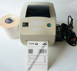 Zebra TLP2844 Thermal Label Printer w/ Ribbon 500 Labels USB Cable Charger 637