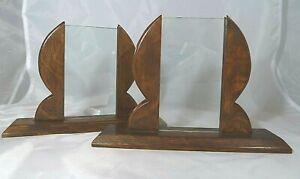 Pair Antique Art Deco Wooden Oak Double Sided Photo Photograph Picture Frames