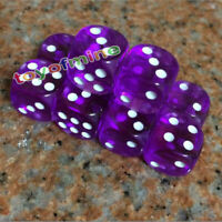 16mm 10Pcs Transparent Six Sided Spot Dice Toys D6 RPG Role Playing Game Purple