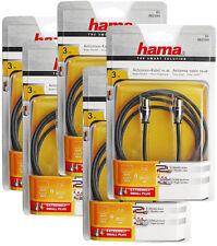 Hama cable de Antena conector coaxial Coax acoplamiento 3M 95db 1 5m oro