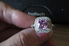 NEW, BEAUTIFUL 3  1/2 TCW PINK CUSHION CUT CZ RING SET IN WHITE GOLD FILLED SZ 9