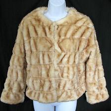 ZARA KNITS Size S Blond Faux Fur Jacket w/ Wool Blend Sweater Knit Lining