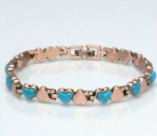 Copper Magnetic Link Turquoise Stone Heart Bracelet for Arthritis Pain Relieve