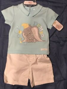Baby DUMBO~Polo~Shirt~TOP + White~SHORTS~SET~Infant 0-3M~NWT~Disney Store