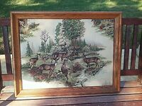 Vintage Trapunto Deer Fabric Picture Wood Frame 3D Quilted Nature Fish Buck