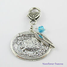 Wolf & Feather Clip on Charm with Crystal for Bag Purse Tote or Zipper Pull