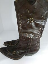 BCBGirls BCBG Brown Leather Embellished Tall Cowboy Western Boots Womens 6A