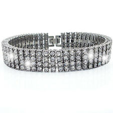 BRAND NEW!! 4 ROW ICED OUT SILVER HIP HOP BLING CZ BRACELET-HIGH QUALITY!!