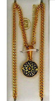 Damascene Gold Round Shape Star Design Pendant Necklace by Midas of Toledo Spain