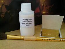 Kit De Hoja De Oro-hojas de oro de 24K, tamaño de 50 ML, Cepillo de Pelo de Camello. Dorado/Art.