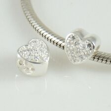 HEART with CZ - Love - Valentine - Solid 925 sterling silver Europea bead charm