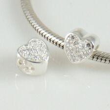 Corazón con CZ-Love-San Valentín-MacIzo 925 Plata Encanto Perla Europea