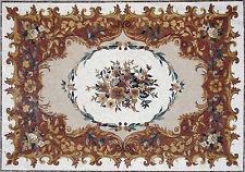 "120""x 80"" Handmade Marble Mosaic Floral Floor Rug Carpet Design Home Art  Decor"