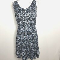 Loft Size Small Sleeveless Summer Dress Blue White A Line Paisley NEW NWT