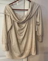 LC Lauren Conrad Oatmeal Heather Elegant Off-the-Shoulder Sweater - XL-NWT