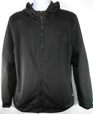 PUMA POLY FLEECE ZIP UP MEN'S BLACK FULL-ZIP HOODIE, #594227-01
