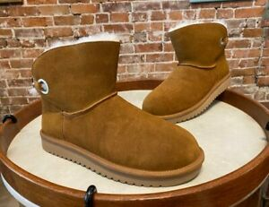 Koolaburra By Ugg Chestnut Brown Suede Remley Mini Boots New