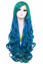 80cm Long Mixed Teal Green&Blue Sweet Curly Wavy Cosplay Hair Wig+Wig Cap