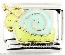 9mm Italian Charm Cartoon Snail Green With Blue Shell Modular Link DlinQ