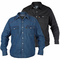 DUKE NEW MENS WESTERN DENIM SHIRT QUALITY BLACK & BLUE S M L XL XXL 1XL-5XL 6XL
