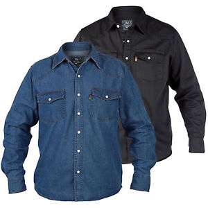 Duke Quality New Mens Blue Denim Shirt Long Sleeve Casual Classic Western Black