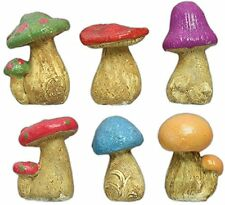 Set of 6 Mushroom Garden Figures Outdoor Statue, New