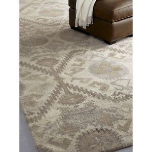 Crate & Barrel Orissa Neutral 9' x 12' Handmade 100% Wool Area Rugs & Carpet