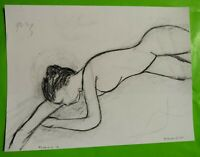 Etude de nu - Fusain sur papier - 2013 - K. Ebertowski - 30 x 40 cm
