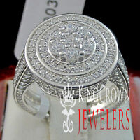 925 Silver Ladies 14K White Gold Finish Lab Diamond Bridal Engagement Ring Band