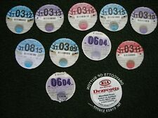 JOB LOT OF 10 OLD VEHICLE TAX DISCS + HOLDER: MOTOR CAR / VAN/ ETC'.