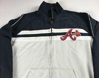 Atlanta Braves Jacket Womens 2XL Cotton Long Sleeve Baseball Track Full Zip ATL