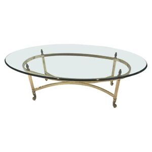 Brass And Glass Oval Coffee Table Vintage LabargeMid Century Hollywood Regency