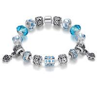 European Blue Crystal Murano Charms Bracelets For Women Fashion Original Jewelry