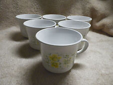 Vintage Corelle April Yellow Flowers Set Of 6 Coffee Tea Cups Mugs Corning Ware