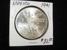 1991 MEXICO SILVER LIBERTAD ONZA UNCIRCULATED