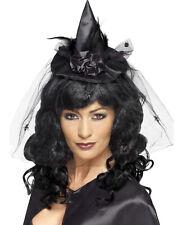 Mini Sombrero de bruja negro en diadema de pelo NUEVO - CARNAVAL Sombrero Gorro