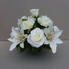 Artificial Silk Flower Arrangement In Pot For Grave/Memorial Vase /Ivory