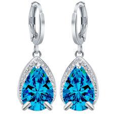 Dangle Earrings Jewelry 2pcs 925 Silver Waterdrop Sapphire Gemstone